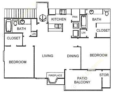 917 sq. ft. B2 floor plan