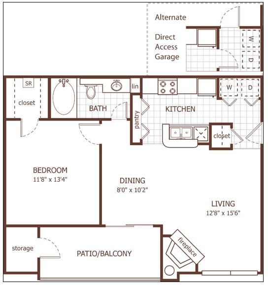 724 sq. ft. Bristol floor plan