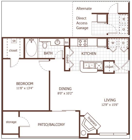 724 sq. ft. Bristol floor plan