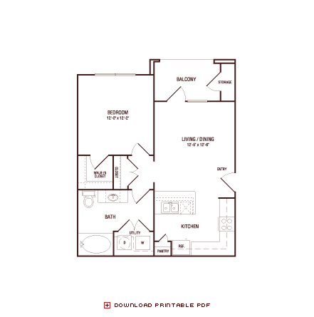 629 sq. ft. White Oak floor plan