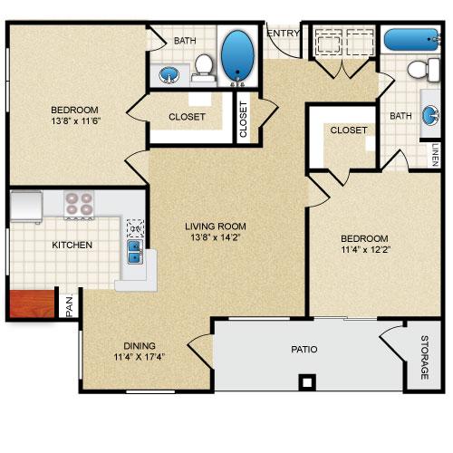 1,050 sq. ft. Magnolia floor plan