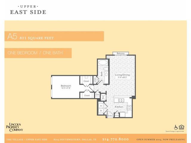 821 sq. ft. A5 floor plan