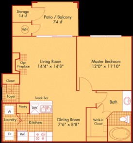 692 sq. ft. A1 floor plan