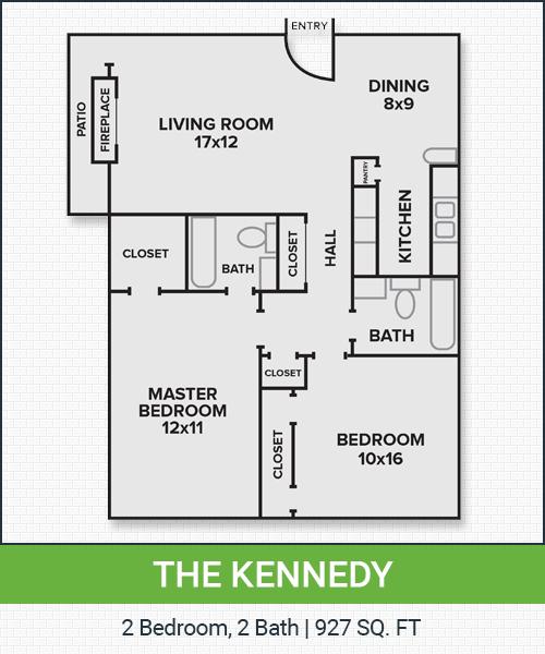 927 sq. ft. Kennedy floor plan