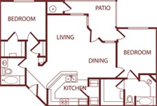 1,148 sq. ft. B2 floor plan