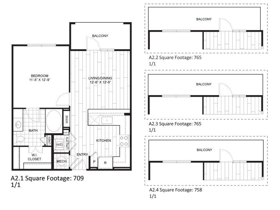 709 sq. ft. to 765 sq. ft. A2.1 floor plan