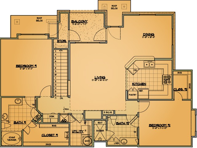 1,366 sq. ft. B4 floor plan