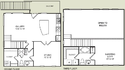 1,071 sq. ft. E1 floor plan