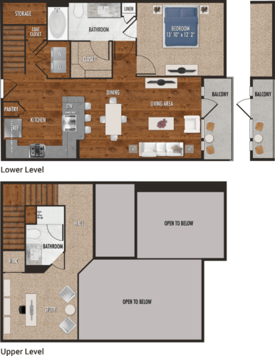 1,105 sq. ft. A5-M floor plan