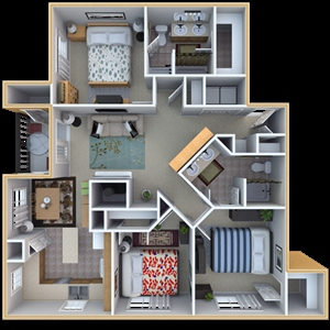 1,302 sq. ft. D1 floor plan