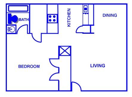 656 sq. ft. A/60% floor plan