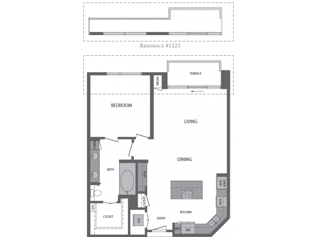 844 sq. ft. to 895 sq. ft. F floor plan