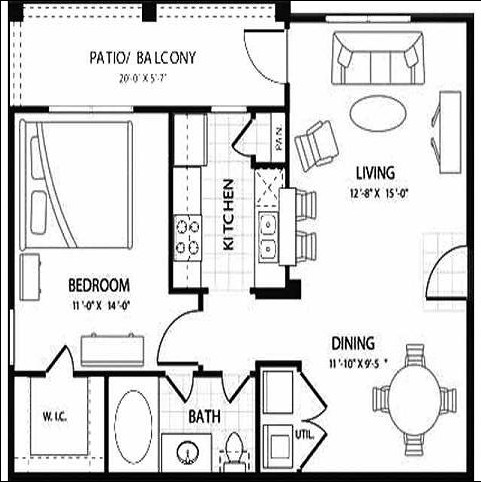 726 sq. ft. Eclipse floor plan