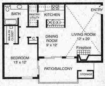 794 sq. ft. A-2 floor plan