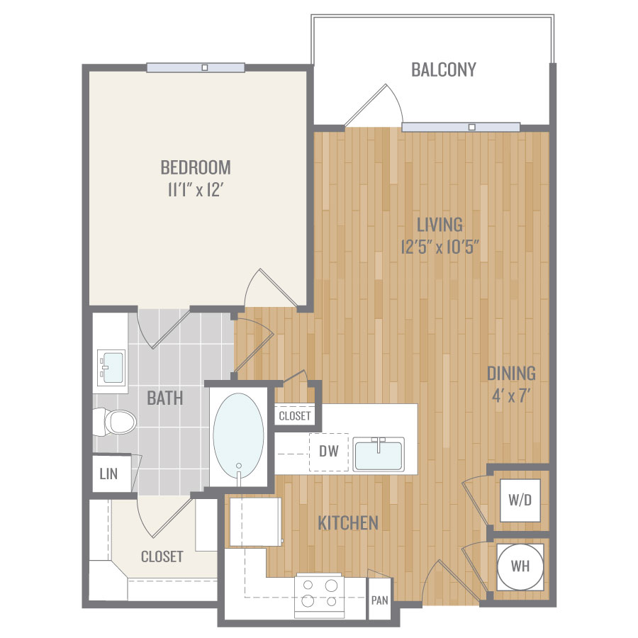 686 sq. ft. A4 floor plan