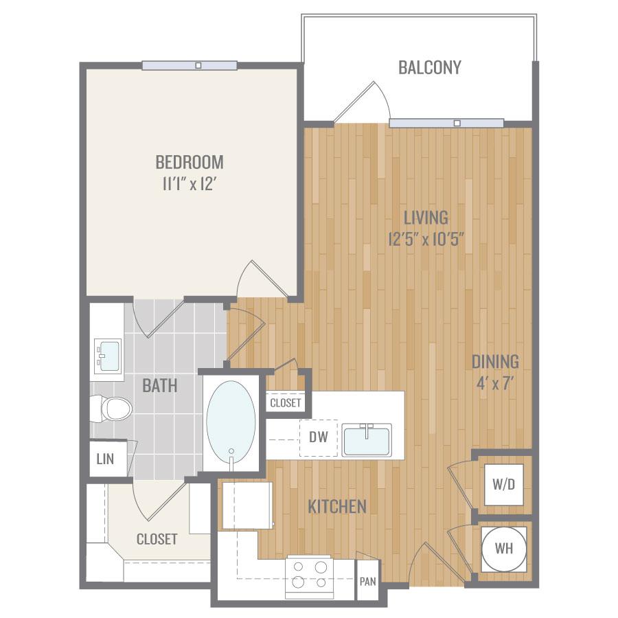 686 sq. ft. A4 floor plan