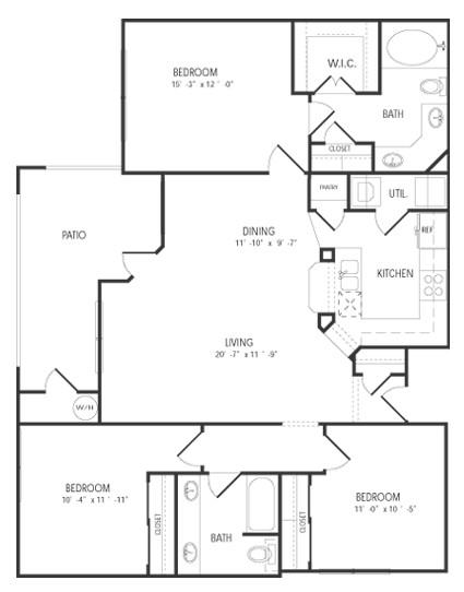1,343 sq. ft. Sandpiper floor plan