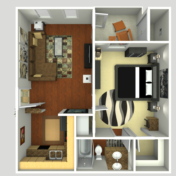 605 sq. ft. A1 floor plan
