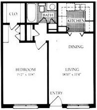575 sq. ft. A floor plan