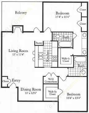 1,217 sq. ft. FU floor plan