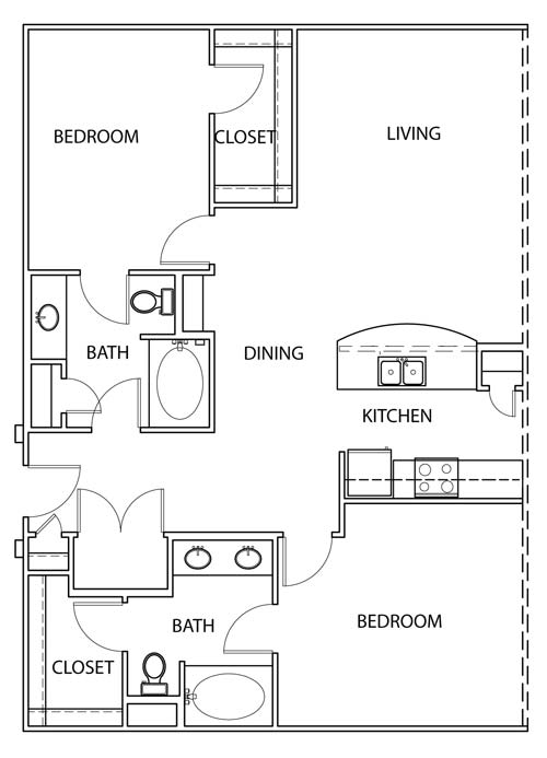 1,199 sq. ft. B2 floor plan