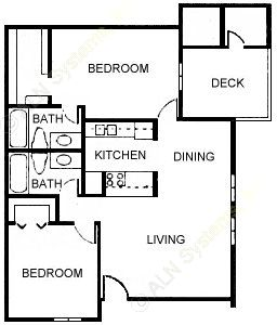959 sq. ft. Esquire floor plan