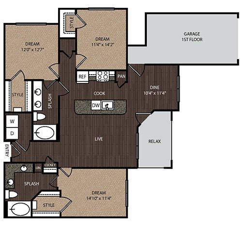 1,397 sq. ft. D1A 1st floor plan