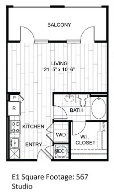 567 sq. ft. E1.3 floor plan