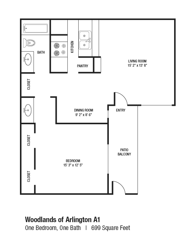 699 sq. ft. A1 floor plan