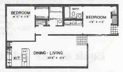 910 sq. ft. I ABP floor plan