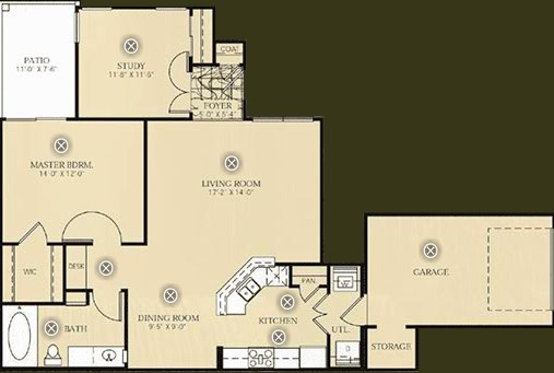 1,022 sq. ft. B1 - Van Gogh floor plan