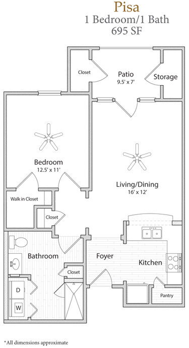 695 sq. ft. Pisa floor plan