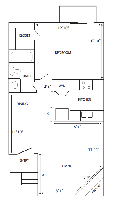 673 sq. ft. G-A1 floor plan