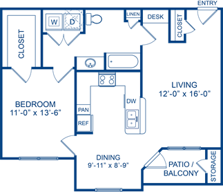 825 sq. ft. Cedar 2 floor plan