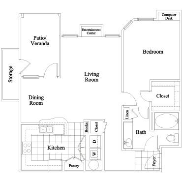 828 sq. ft. Habersham floor plan
