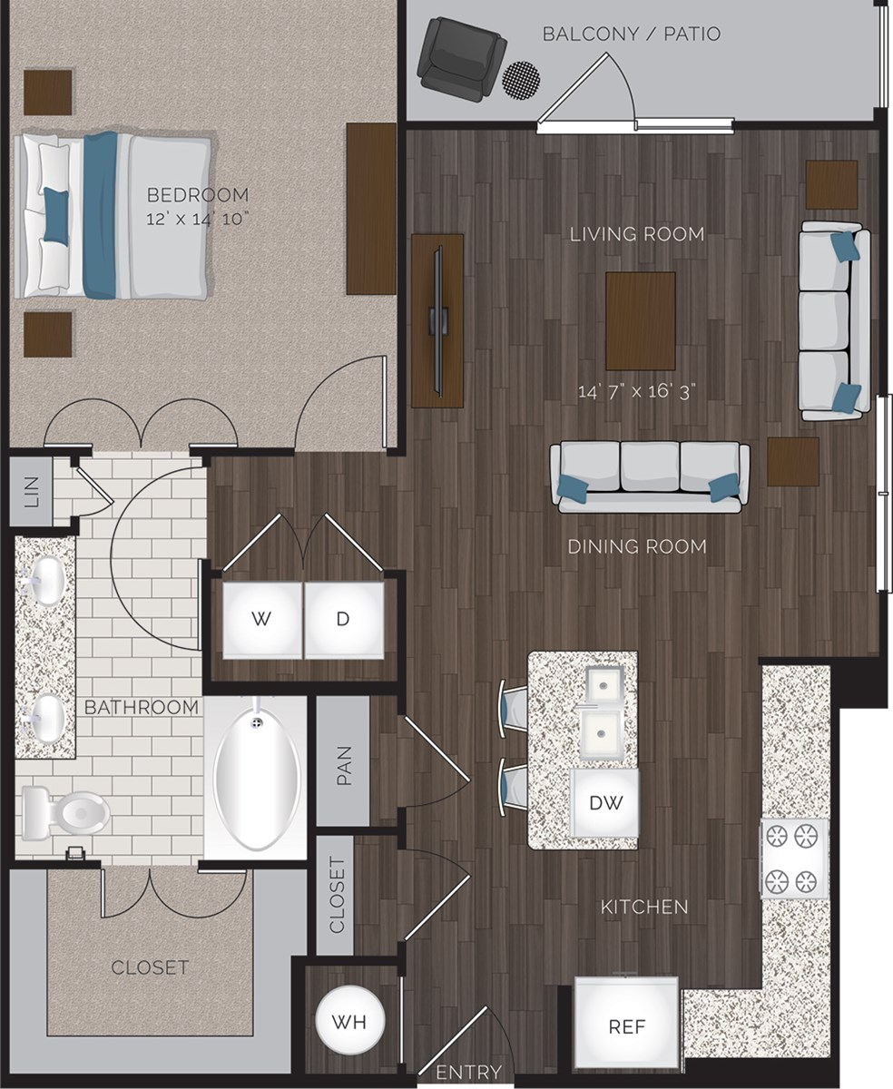 868 sq. ft. A5 floor plan