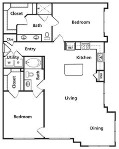 1,282 sq. ft. D2 floor plan