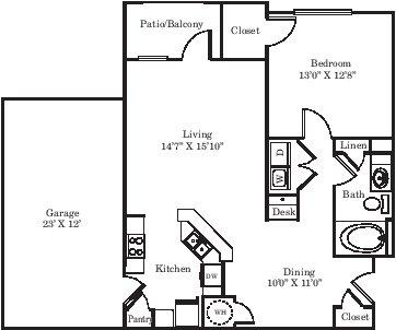 880 sq. ft. A1G floor plan