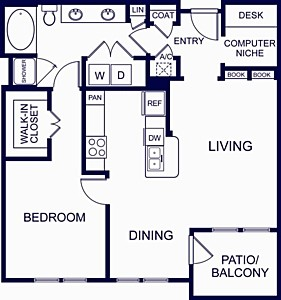 898 sq. ft. GRANADA ONE floor plan