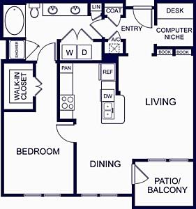 898 sq. ft. Granada One floor plan