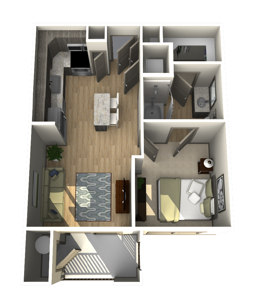 526 sq. ft. A1 floor plan