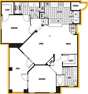 1,205 sq. ft. Sevilla floor plan