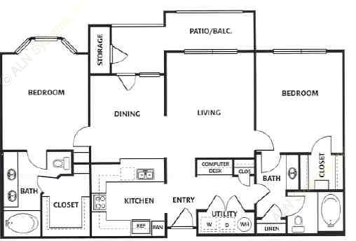 1,215 sq. ft. E floor plan
