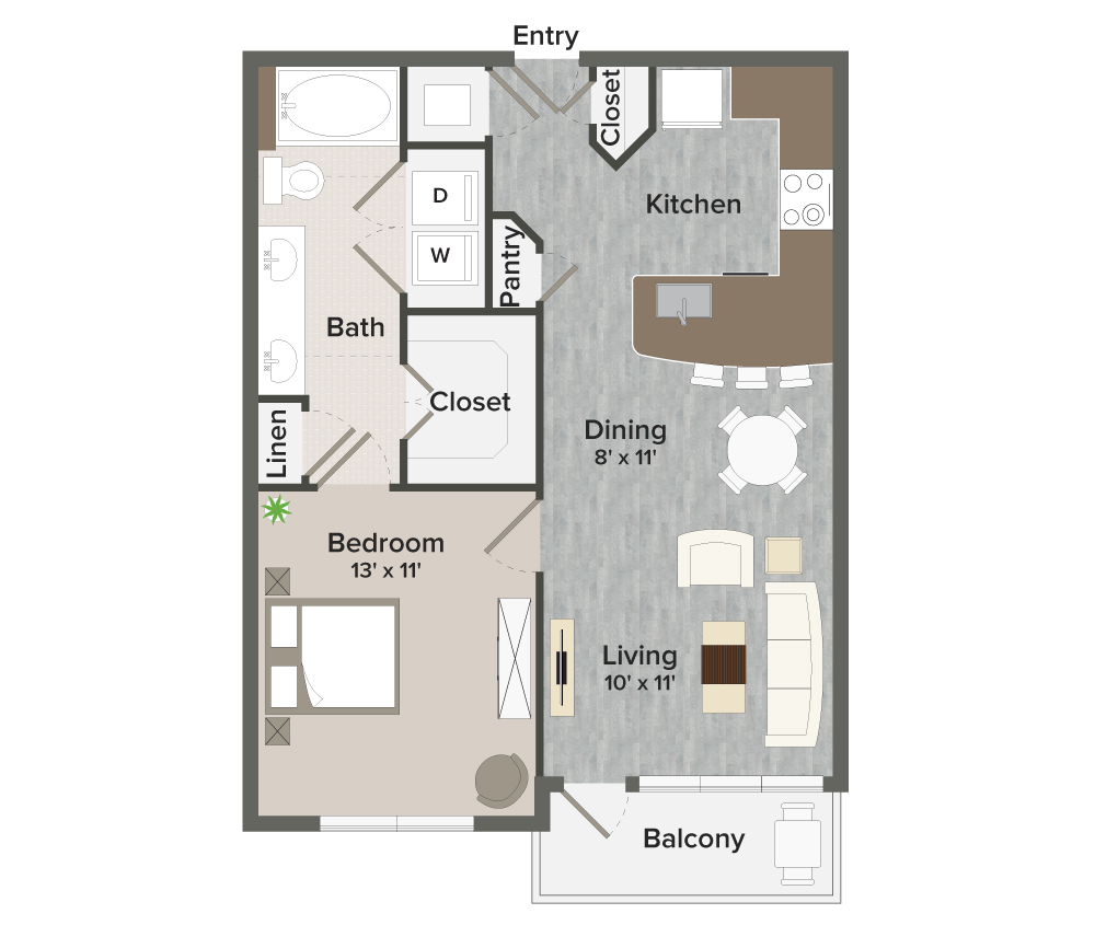 711 sq. ft. Boulevard-A2 floor plan