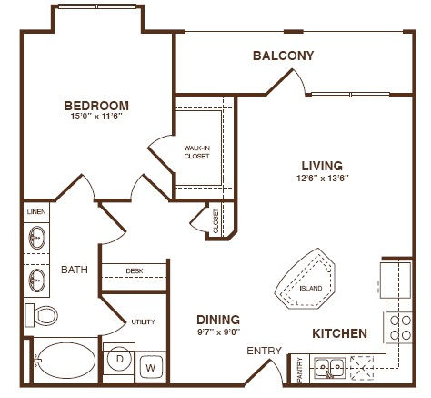 861 sq. ft. A3SB floor plan