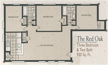 930 sq. ft. C1-320/60% floor plan