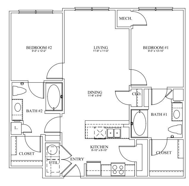 950 sq. ft. 30% floor plan
