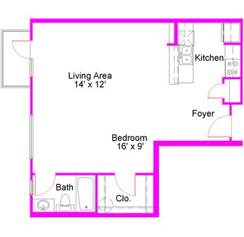 671 sq. ft. to 678 sq. ft. Studio floor plan