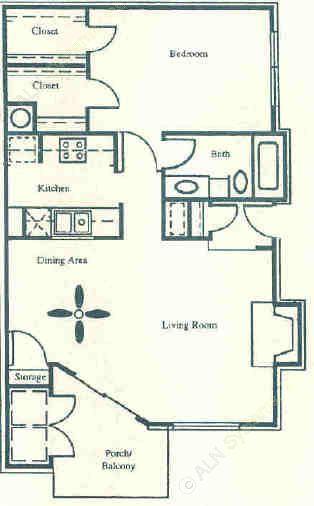 800 sq. ft. Yorkshire floor plan