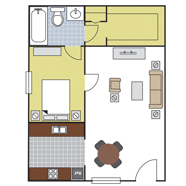 600 sq. ft. A2 floor plan